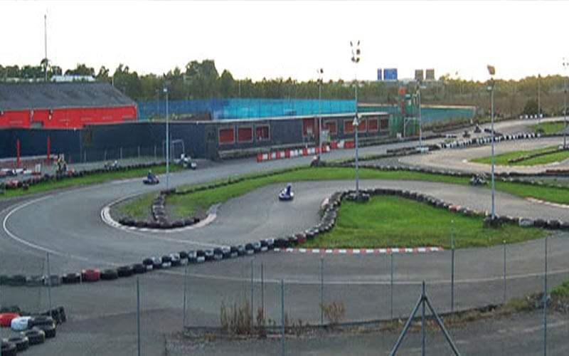 The go karting track in Dublin with a go kart driving around