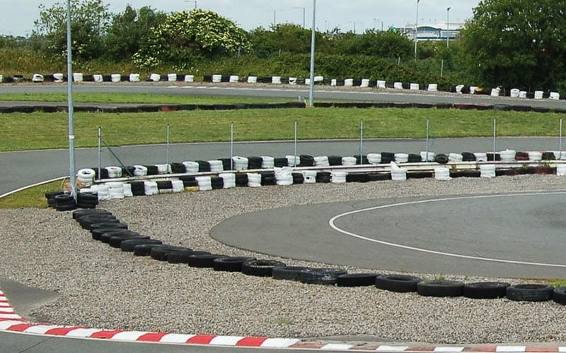 One of the sharp bends on the go karting track in Dublin