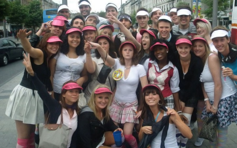 Some girls dressed as golfers for a pub golf bar crawl