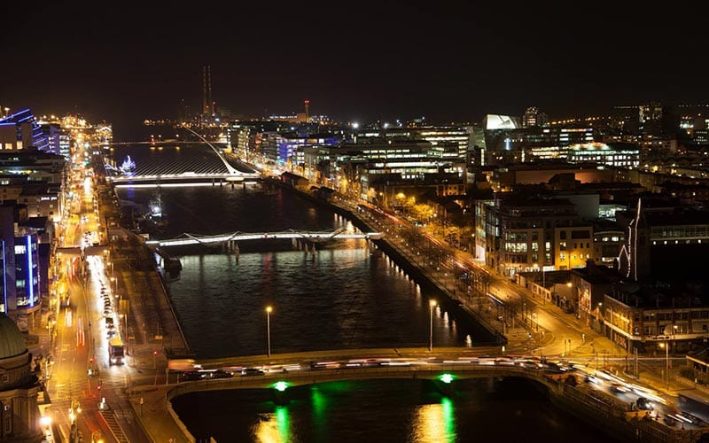 A picturesque view of the River Liffey at night