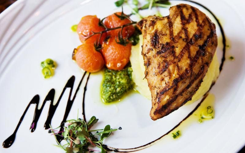 A chicken breast and tomatoes presented nicely on a white plate
