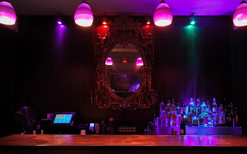 The bar area in the Dublin strip club