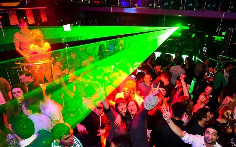 Green strobe lighting in Dublin's Club M