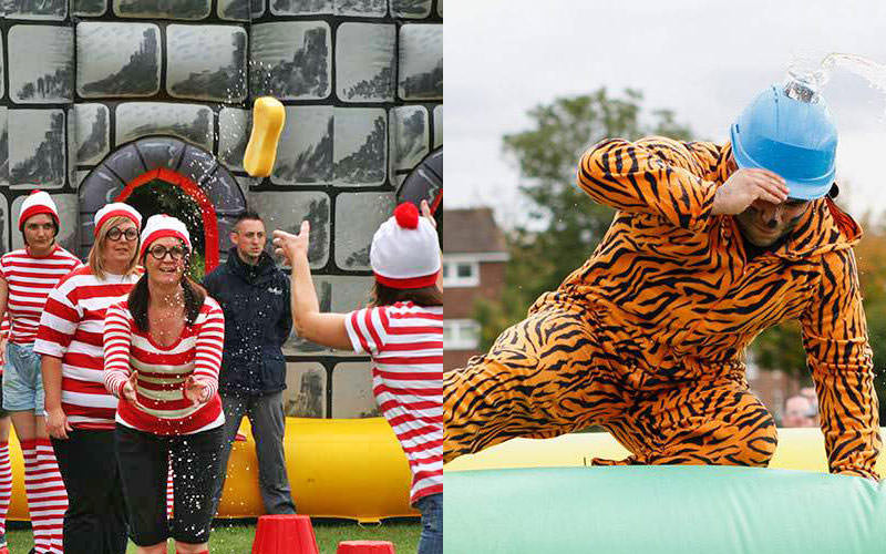 Split image of a woman throwing a wet sponge while dressed as where's wally, and a man dressed in a tiger oneise