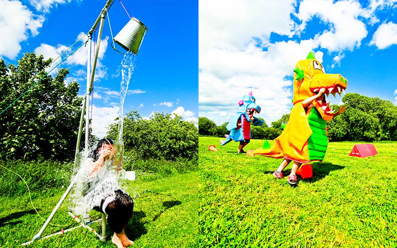 Two tiled images - one of a woman sat down with a bucket of water poured on top, and two people dressed as dragons