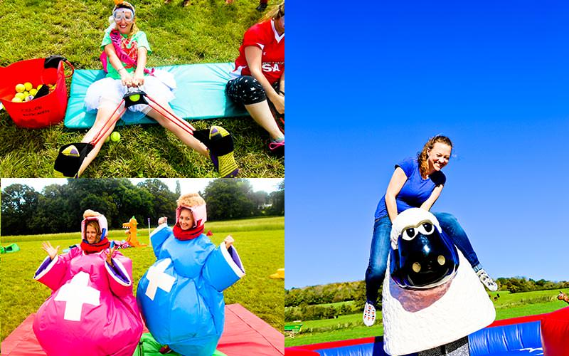 Three tiled images of woman playing Welsh Games in a field