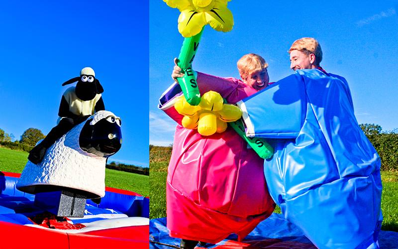 Two tiled images, featuring one of someone dressed as a sheep and riding a sheep, and two women in inflatable suits fighting with daffodils