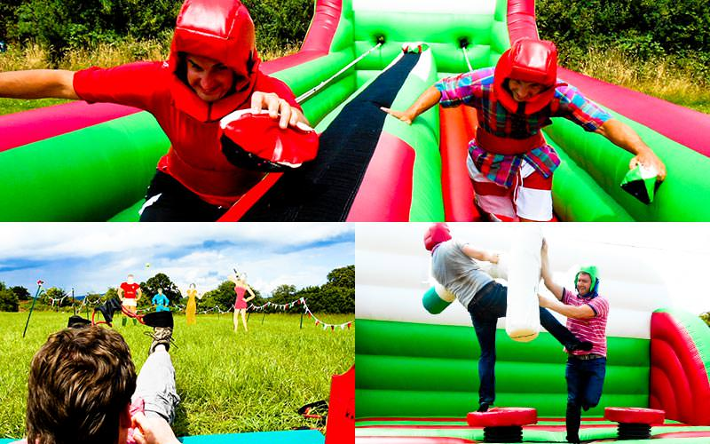 An image of two people running along an inflatable bungee jump, one of a man aiming with a catapult, and two people gladiator duelling