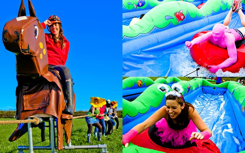 A woman riding a fake horse, and two tiled images of people sliding down an inflatable in dinghys