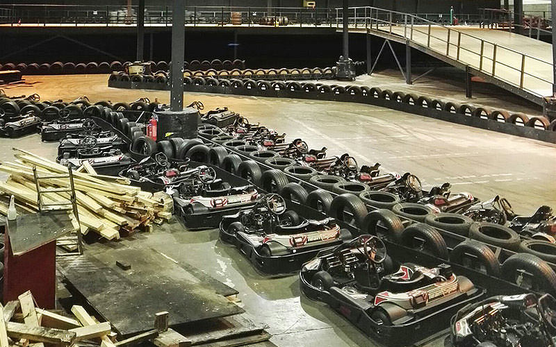 Go karts lined up on the track