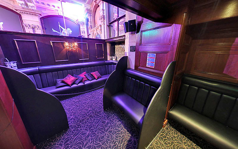 Leather booths and seating in Central Chambers lap club
