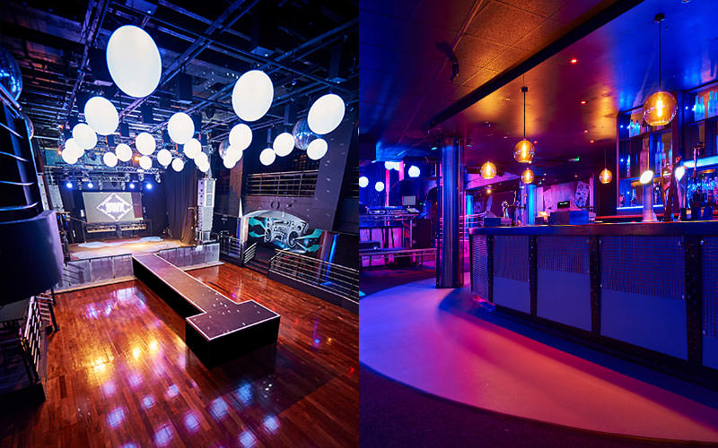 Split image of the bar at SWX, Bristol, and the dance floor and stage area