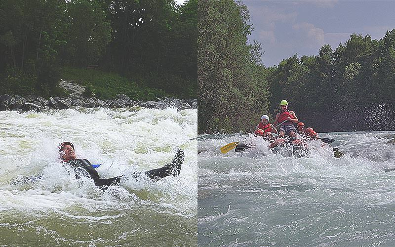 Split image of a man in a river, and a dinghy of people battling white water rapids on a river