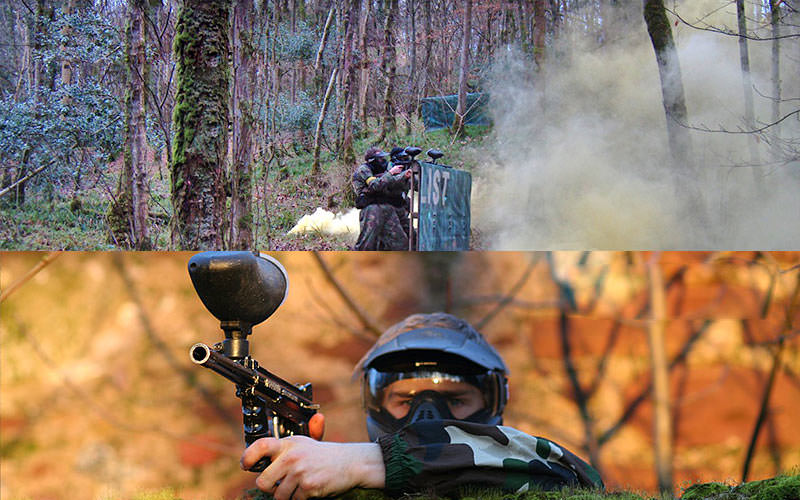 Split image of people playing paintball outdoors and in camouflage gear