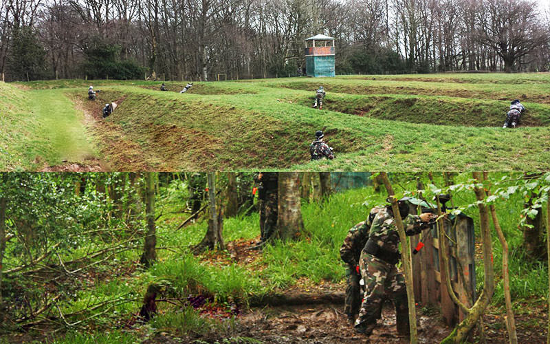 Split image of people in fields, playing paintball in camouflage gear