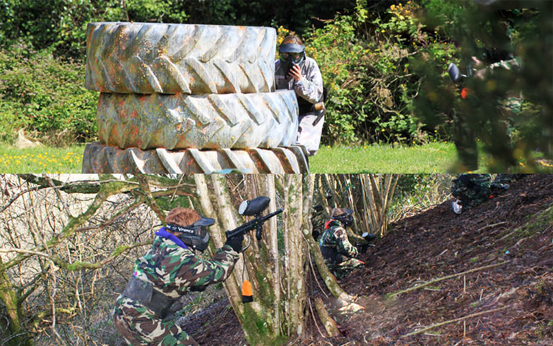 Split image of a man hiding behind tyres and playing paintball, and a man hiding behind a tree