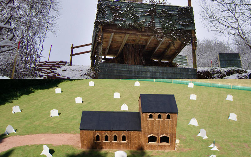 Split image of outdoor paintball zones