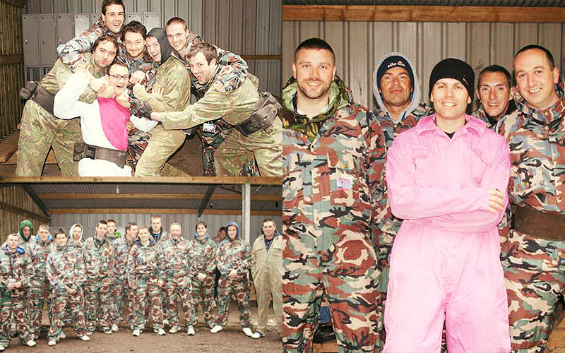 Three tiled images of people posing in camouflage gear