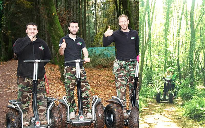 A split image of three men on segways with their thumbs up and some women coming through a forest on segways