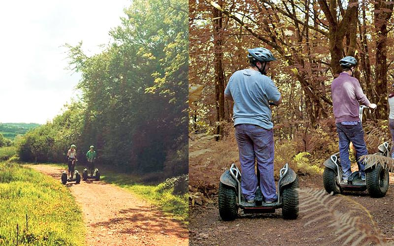A split image of two women driving along a country lane on their segways, and two men driving through a forest