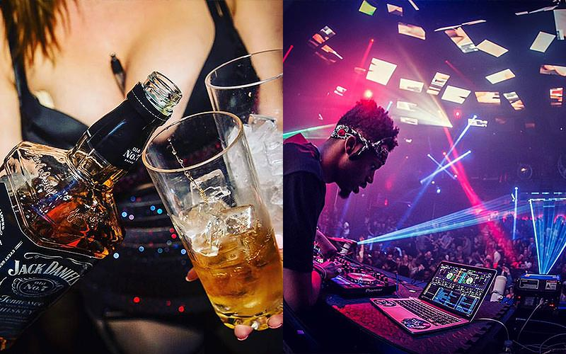 A split image of a women filling two glasses from a bottle of whiskey and a DJ playing to a large dancefloor