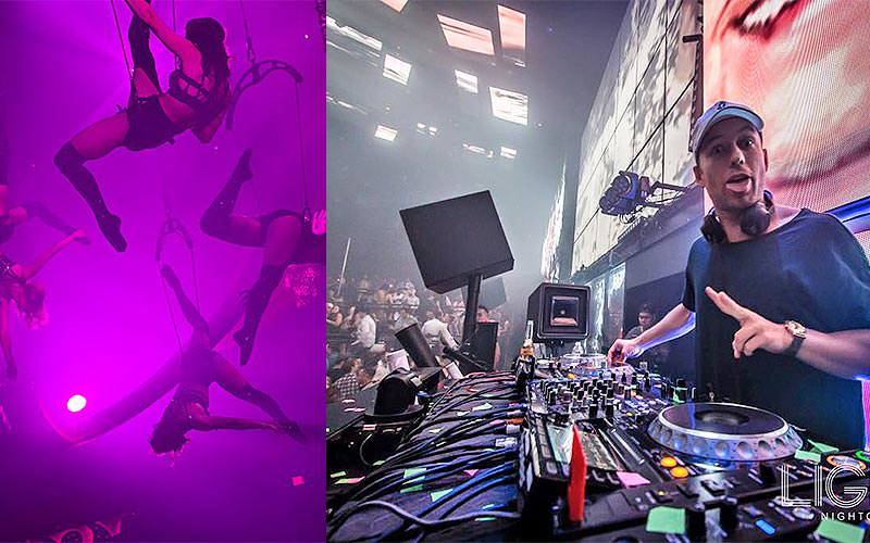 A split image of performers on aerial harnesses and a DJ posing in a DJ booth