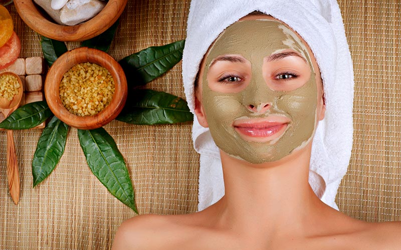 A woman with a face mask on