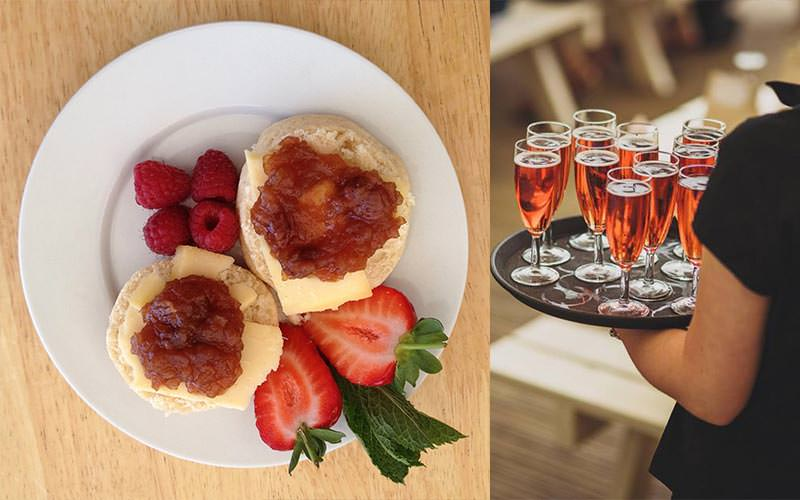 Split image of cream tea served on a plate with strawberries, and a waitress holding full pink champagne flutes
