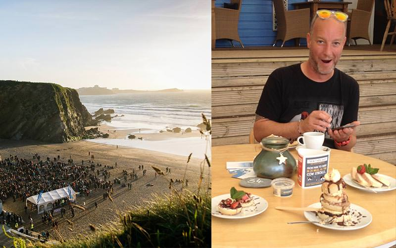 Split image of Lusty Glaze beach, Newquay, and a man enjoying cream tea at a table