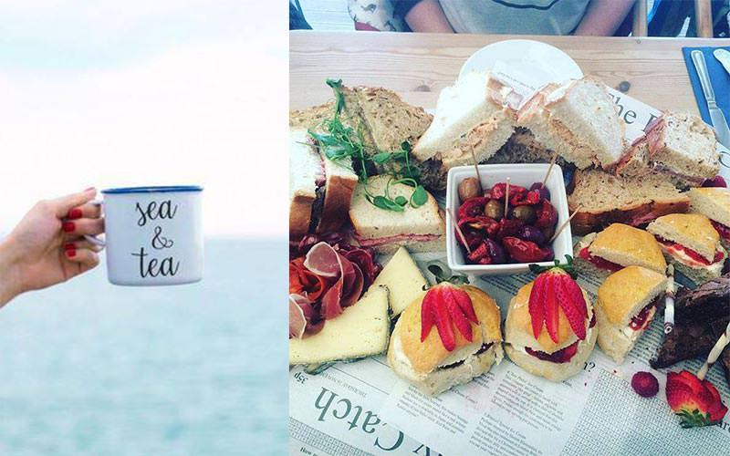 Split image of a woman's hand holding up a mug on the beach, and tapas style food served up on a table
