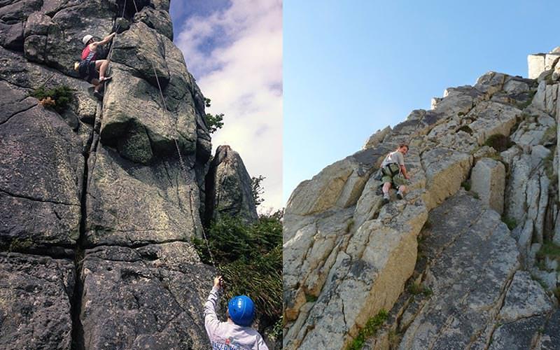 Split image of people rock climbing