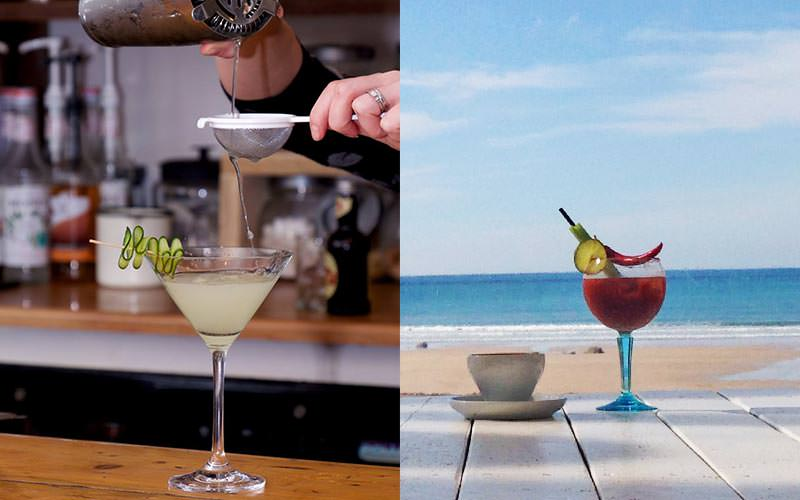 Split image of a woman pouring a cocktail through a sieve and into a martini glass, and two cocktails on a table on the beach