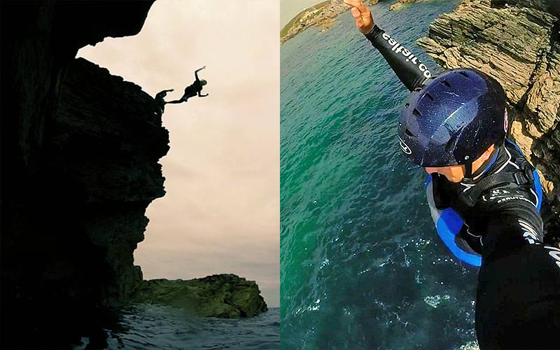 Split image of a two people jumping off a cliff, and a man holding a camera up as he jumps off a cliff