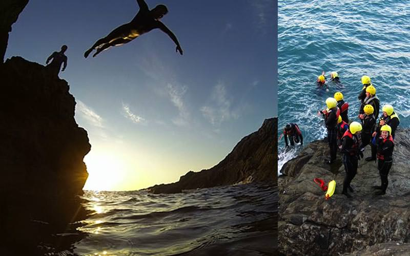Split image of a man jumping into the sea with a man looking on, and people stood on a cliff