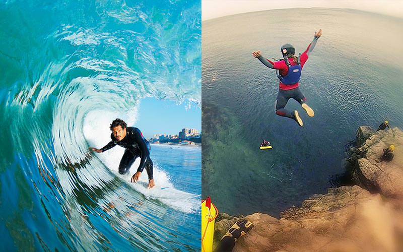 Split image of a man surfing a wave, and a person jumping off a cliff into the sea
