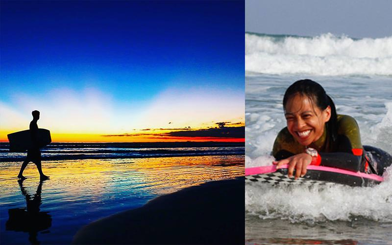 Split image of a man walking along the beach at sunset and carrying a bodyboard, and a woman bodyboarding