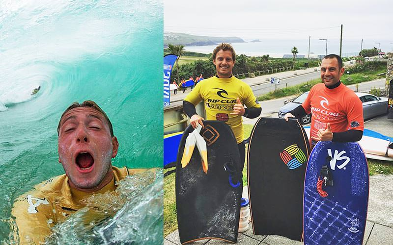 Split image of a man in the sea, and two men holding three bodyboards
