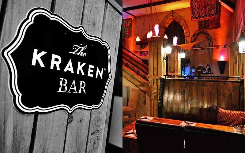 Split image of the Kraken Bar logo, and wooden booths in Captain Jack's restaurant, Newquay