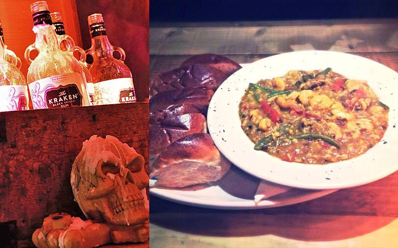 Split image of spirit bottles in a chest with a skull in front, and a plate of food served along bread rolls