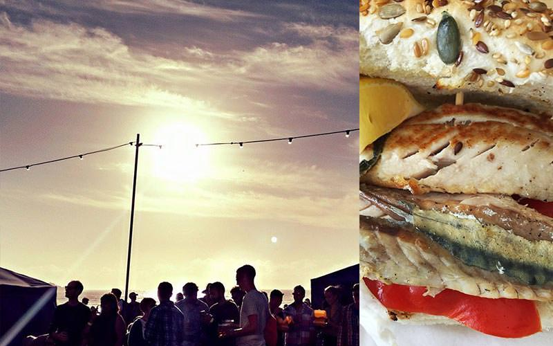 A split image of some people partying on a beach under the sun and a close up of some delicious fish in a bun