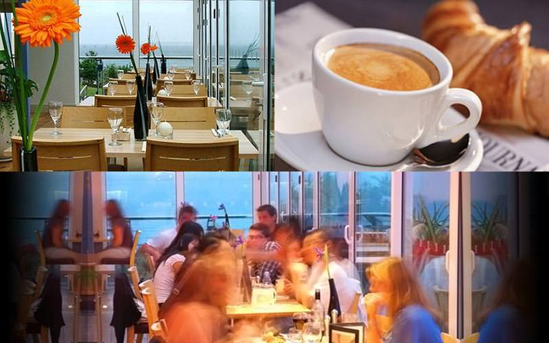 Three tiled images - one of coffee and croissant, people sat at tables in the Chy Bar, and tables set for dinner in the restaurant