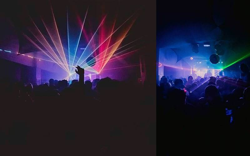 Two images featuring strobe lights over packed dance floors