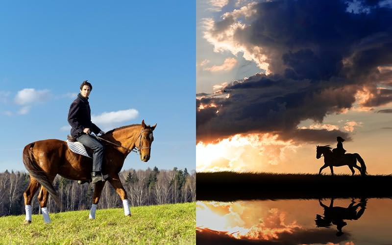 A split image of a man on a horse wearing socks and a woman's silhouette as she rides a horse by a lake at dusk