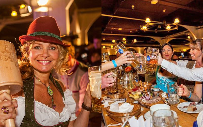 Split image of a woman holding up drinks whilst dressed as a beer maid, and women toasting at a table in beer maid costumes