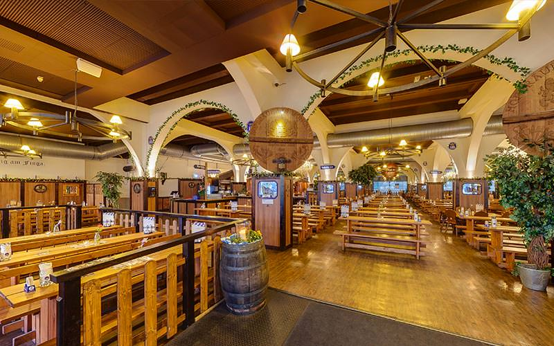 Wooden benches and interior of Hofbrauhaus, Berlin