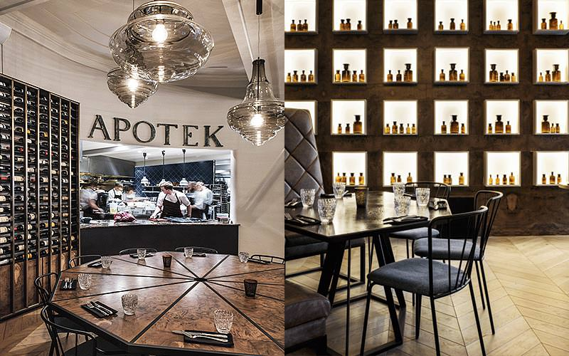 Split image of the kitchen at Apotek Restaurant, and a table set for dinner with bottles in shelves in the back