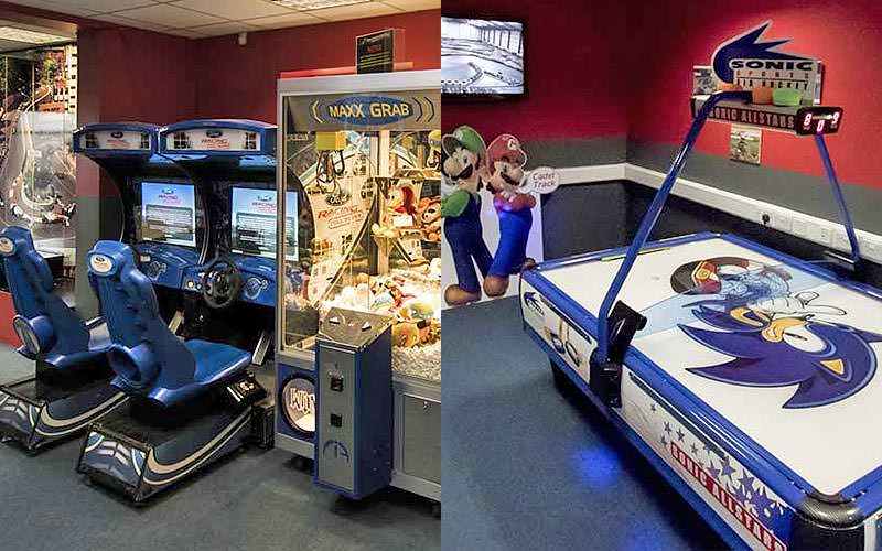 A split view of two games rooms, with arcade games and an air hockey table