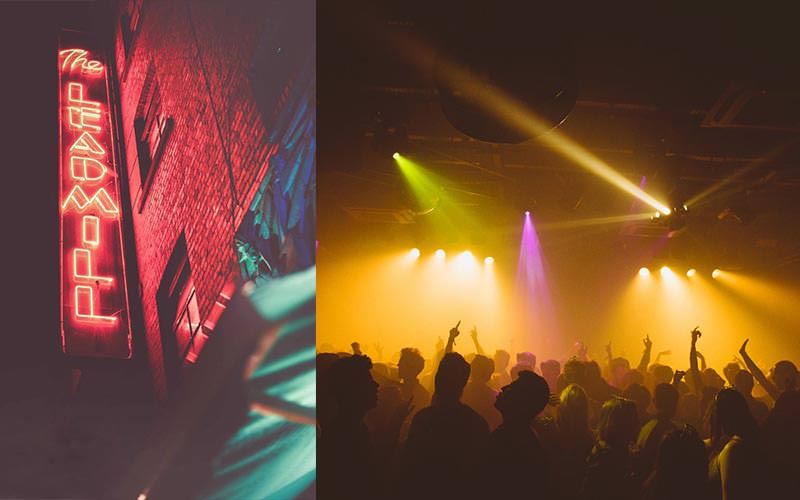 Split image of the lit-up Leadmill sign at night, and people dancing on a dancefloor to a backdrop of yellow strobe lights