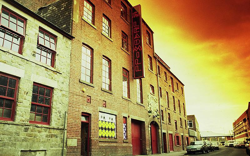 Exterior of Leadmill, Sheffield, at sunset