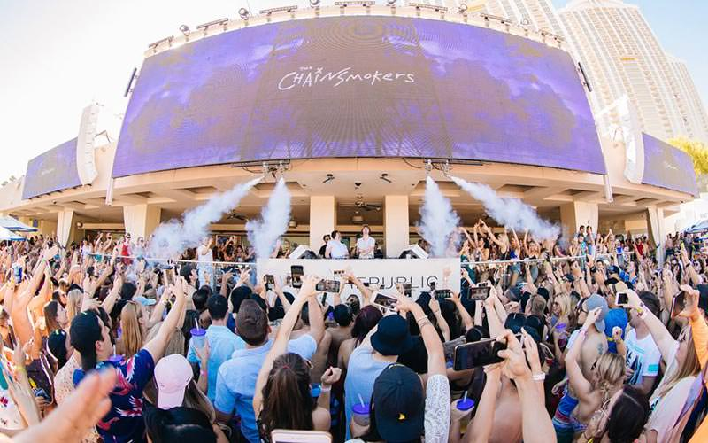 A view of the dance floor and DJ booth at Wet Republic